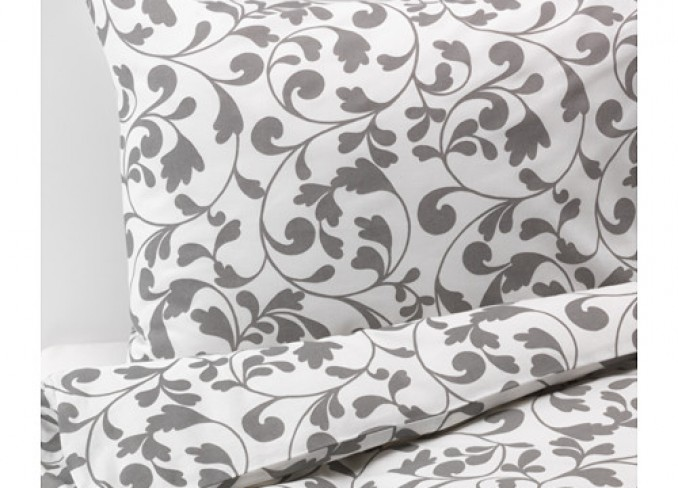 Ikea ROSTVIN Quilt cover and 2 pillowcases, white, grey gallery 1