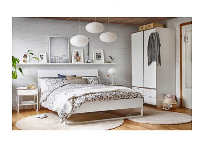 Ikea ROSTVIN Quilt cover and 2 pillowcases, white, grey gallery 3