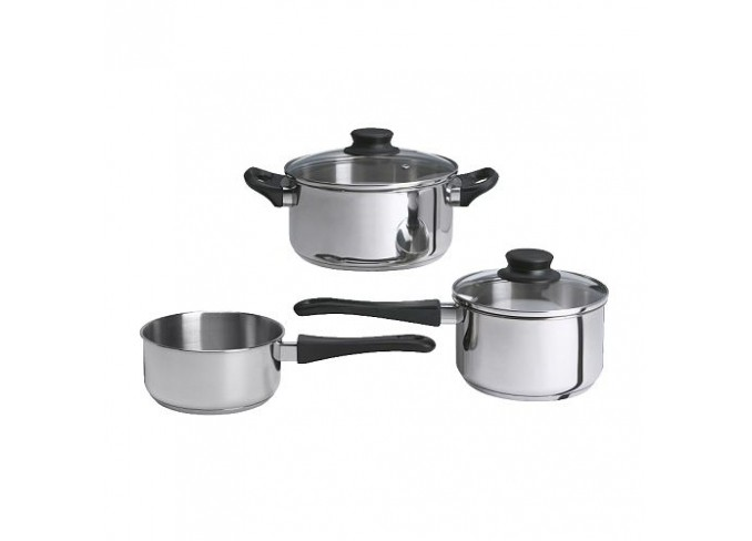 Ikea ANNONS 3-piece cookware set (glass, stainless steel) gallery 1